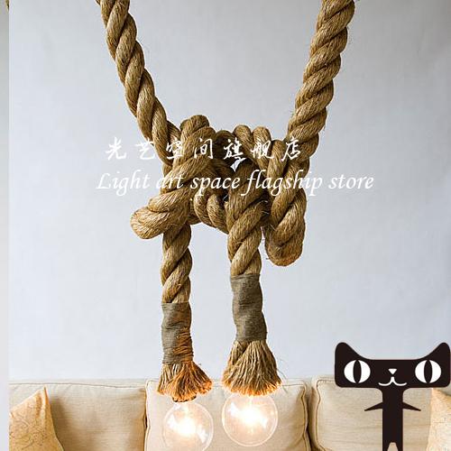Personality hemp rope pendant light pendant light vintage american pendant light preparation of handmade(China (Mainland))