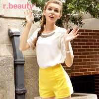 Free Shipping r13B2020 Sweet Women's Shirts Rhinestone Beading O-neck Basic Blouse Short-sleeve Chiffon Shirt Tops of Women 2014