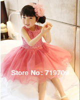 Retail Hot Sell Free Shipping Girls sequins gauze lace dress in sunshine fashion girl's sequin vest dresses GQ-343