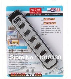 Hot sale ShengWei UH-2071 USB2.0 7 Ports USB Hub Free Shipping(China (Mainland))