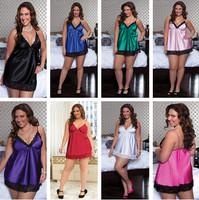 Plus Size Satin with Lace Sexy Lingerie Hot Women Sleepwear High Fashion Sexy Underwear XXL Size