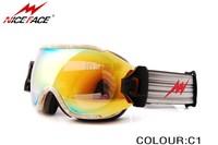 Fashion colorful Frame Dual super Lens Anti-Fog Snow Ski Snowboard Goggles Three layer face foams all weather