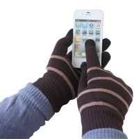 Touch screen gloves male winter stripe yarn gloves tm120