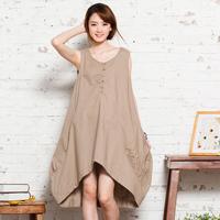 FREE SHIPPING 2013 summer women's plus size cotton loose 100% 11267 tank dress