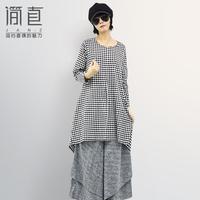 FREE SHIPPING Linen women's fluid spring and autumn medium-long long-sleeve plaid shirt belt one-piece dress