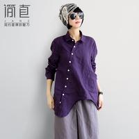 Original design linen women's fluid slanting lapel asymmetrical sweep medium-long long-sleeve shirt female personality