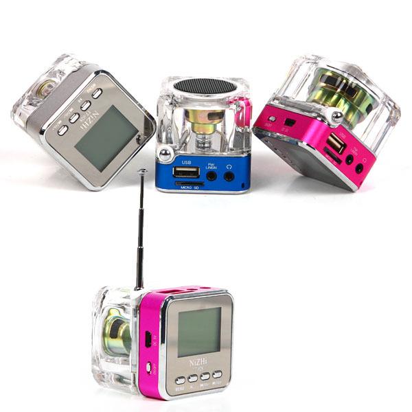 Portable HIFI USB Mini Speaker Micro SD/TF MP3/4 Player Amplifier TV Mobile Phone FM Radio speakers Transparent #L01469(China (Mainland))