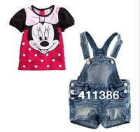 ST015 free shipping children sets baby girls Minnie summer 2pcs suit short-sleeve cartoon tee shirts + denim shorts pants retail