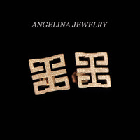 Free Shipping~New Arrival Titanium Jewelry 18K Rose Gold Plated Hollow Smooth/Matte Square Earring