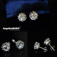 FREE SHIPPING~New Jewelry Fashion 925 Silver Sterling Super Shinning AAA Zircon Princess Stud Earring