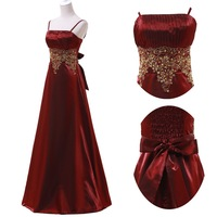 Free Shipping GK New Arrival Black,Dark Red Wedding Party Gown Long Formal Evening Dress Satin Prom Dresses 2014 CL4974