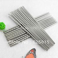 Hot Sale 5 Pair Non-slip Design Stainless Steel Chinese Chopstick Chop Sticks Silver 20-678