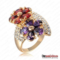 Fashion Flower Ring Crystal Women Rings 18K Gold Plate Ring Wholesale 22*33mm Ri-HQ0283