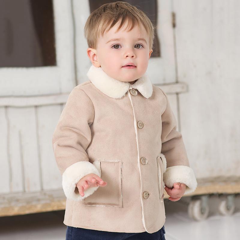 Bueatiful Vida inverno infantil espessamento de pele gola do casaco de couro de médio longo fleece bebê casaco de lã db318(China (Mainland))
