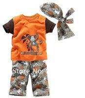 new 2014 child clothing set boy clothes sets kids clothes summer Monkey boy's clothing