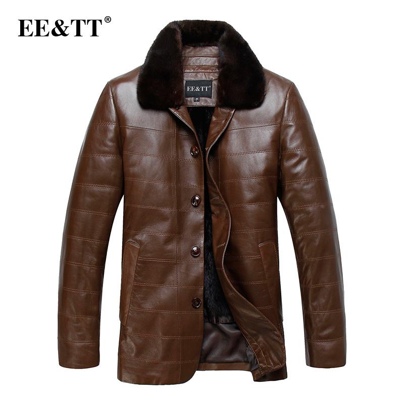 Мужские изделия из кожи и замши Eett2013 mink liner nick coat male genuine leather clothing male medium-long marten slim overcoat male