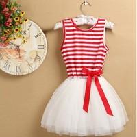 Hot! Baby-girls beautiful colorful stripeddd sleeveless tutu princess bow soutache dress