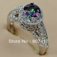 Fashion  Rainbow Mystic stone 925 Silver RING Romantic R755 size 6 7 8 9