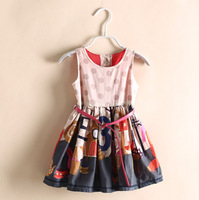 Girl Dress New 2014 European Style Polka Dot Children Dress American Fashion Girls Clothes Flower Pattern Design Child Clothing