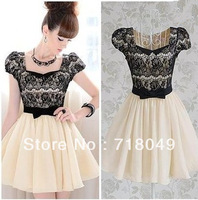 Black Lace Patchwork Diamond Neck Slim Bow Puff Short Sleeve Women High Street Above Knee Cute Pleated Party Dress New 2014
