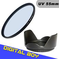 Digital Boy 55mm UV Ultra-Violet Lens Filter+55mm Lens Hood Filter kit  Protector for Canon Nikon Sony Olympus Camera