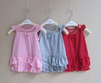 2014 Infant Baby-girls colorful mesh net lace frill dress girls sleeveless fashion dress