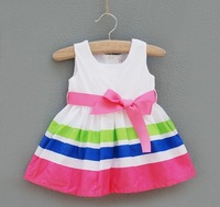 2014 Baby-girls colorful striped ribbon slip rainbow dress princess dress party dress kids summer outfit