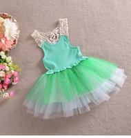 2014 Newest Baby-girls beautiful wedding Christening hollow lace princess sleeveless colorful tutu dress