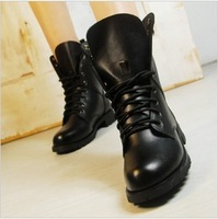Womens Motorcycle Boots Combat Flat Biker Slip On Buckle Rivets Fashion Black All Size Free Shipping