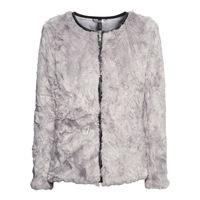Light gray zipper leather PU border long-sleeve o-neck autumn and winter fur coat 6 haoduoyi