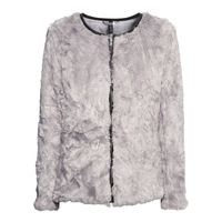 Light gray zipper leather PU border long-sleeve o-neck autumn and winter fur coat 6 haoduoyi