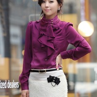 2014 New Spring Autumn Women OL Formal Ruffle Puff Sleeve Royal Satin Blouses & Shirts Female Long Sleeve Shirt S-XXL Wine Red