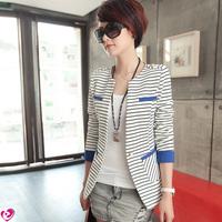 Small suit jacket spring women's suit stripe design short slim long-sleeve color block decoration suits for women