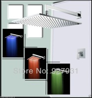 "Free Shipping Wholesale And Retail 12"" Square Luxury Led Rainfall Shower Head+Control Value Shower Mixer Faucet Set"