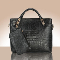 Genuine Leather fashion trend of the women's handbag high quality crocodile pattern women's one shoulder bag handbag