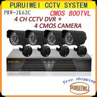 4CH Full D1 H.264 120fps*D1 Standalone Cloud CCTV security network DVR + 4 CMOS 800TVL 960H 24led IR CCTV Camera Free Shipping