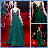 2014 Spring New Arrival A-Line Deep V-neck See Through Top Full Of Beaded Luxury Green Chiffon Sheer Evening Dress