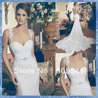 2014 Fashion NEW Vintage Mermaid Spaghetti Strap Lace Straps Fashion Satin Elegant Sexy Sheer Backless Wedding Dresses