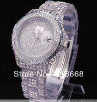 2pcs woman watch diamond watch Luxury diamond watch Swarovski full with Calendar Starry Transparent White