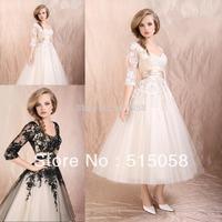Elegant Black Ivory Tea Length Wedding Dresses 2015 New Arrival Vestidos De Novia
