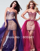 2014 New Arrival Beaded Crystal Prom Dress Sexy Sheath Sweetgheart with Detachable Skirt Prom Gowns MD10004M