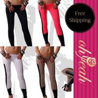 Free Shipping New Arrival Plus Size Legging  Leather Legging patchwork Girls Leggings Clothes Women Leggings     T23141P