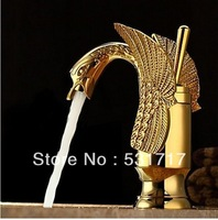 Golden Polished Solid Brass Swan Faucet Bathroom Basin Mixer Tap Bionics Design SW09