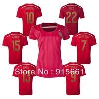 Free shipping,2014/15 New spain women girl home XAVI/INIESTA/DAVID VILLA/FABREGAS/ISCO/MATA/MICHU/ROMAS/TORRES soccer jerseys