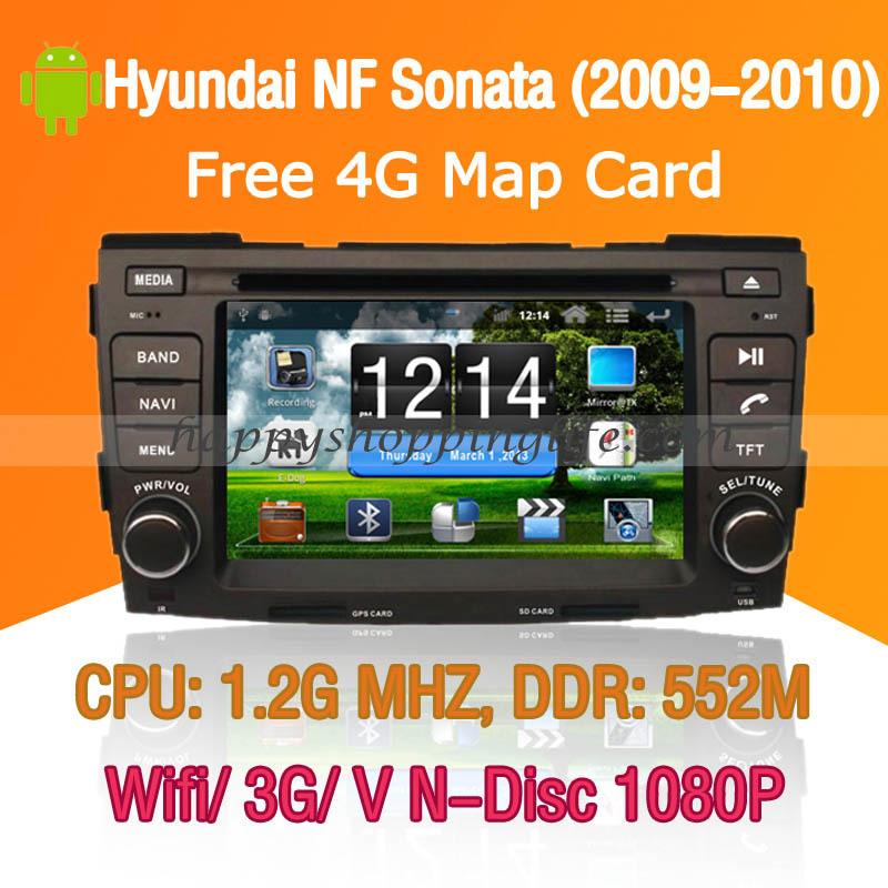 Android Hyundai NF Sonata Car DVD player GPS Navigation 3G Wifi Bluetooth Touch Screen USB SD support Virtual N Disc 1080P HD(China (Mainland))
