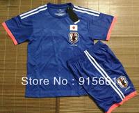 2014 World Cup Football jerseys Top Quality Japan Home Blue Football jersey Children sets Soccer Uniform Kids Free shipping