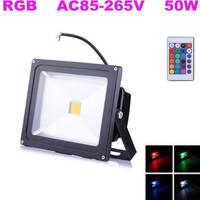 Fedex Free! 10pcs/lot,50W LED Flood Light RGB Black Shell AC85-265V Waterproof Landscape Lighting with Remote Controller