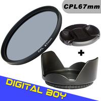 Digital Boy Brand New cpl filter 67mm+ 67mm Lens Hood +67mm Lens Cap for Canon nikon D90 D7000 EOS 650D 600D 550D 1100D
