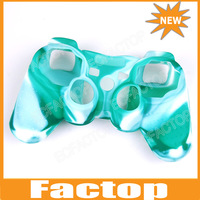 White & Green Silicone Skin Case Cover For PS3 Controller Playstation camouflage