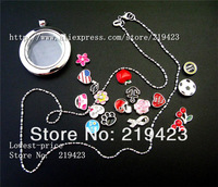 Free shipping! 1 set heart chrome  Locket + 13pcs Floating  charms +Necklace